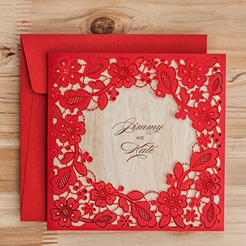 Laser Cut Red Lace Invitation Cards Elegant Hollow Flower Floral Wedding Invitations Birthday Party Paper Cards CW5280 (100)