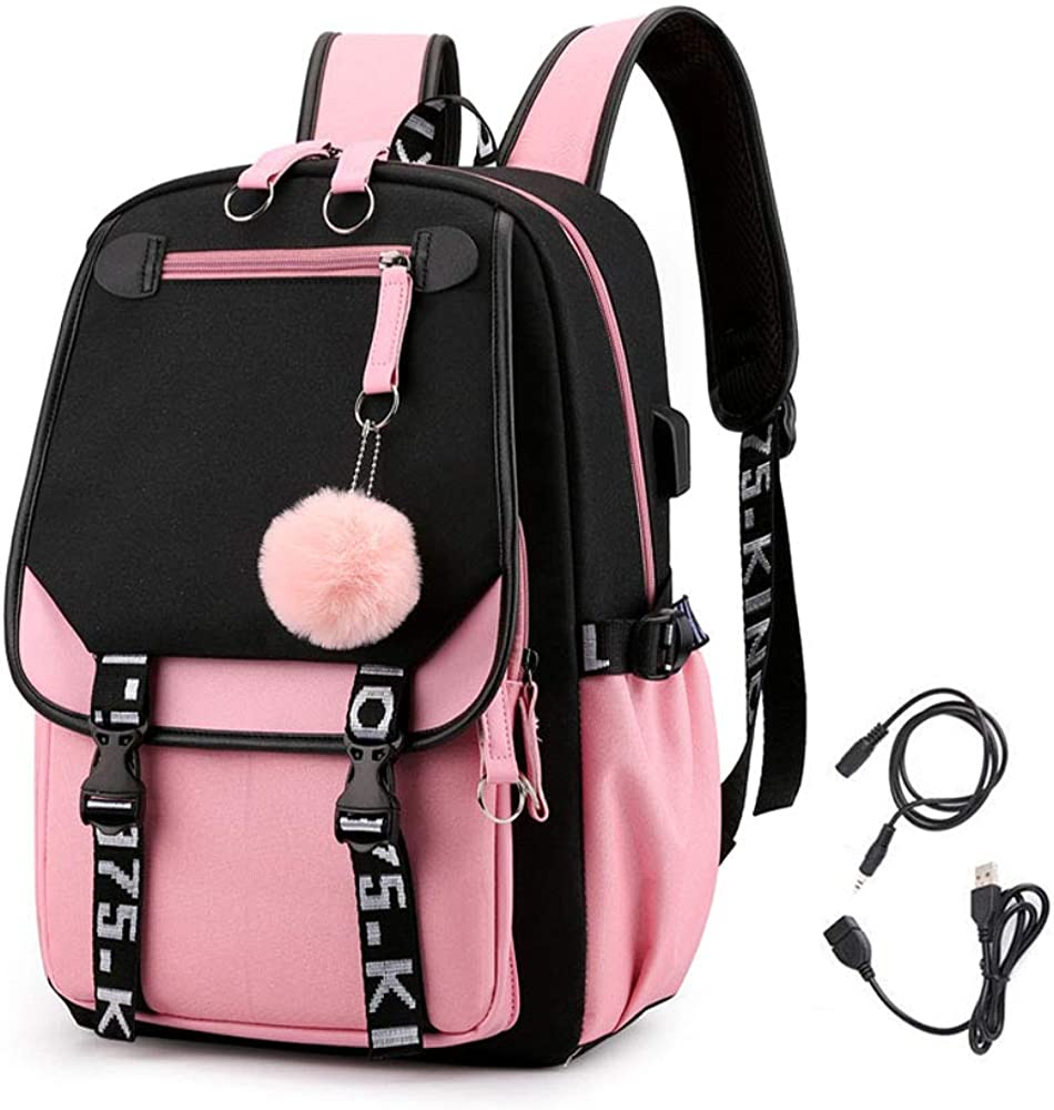 KEBEIXUAN Girl Backpack has USB and Audio Cable Interface Suitable as Student School Bag Laptop Backpack Leisure Backpack