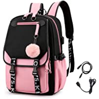 KEBEIXUAN Middle School Student Backpack BTS College Casual Bag Side Configuration USB Interface and Headphone Jack.
