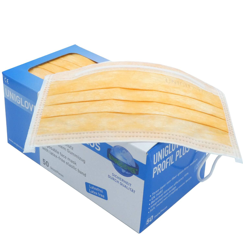 mit eingearbeiteten Nasenb/ügel Latex und Nikelfrei Einweg OP Mundschutz 3-faches glasfaserfreies Filtermedium 50 St/ück Box