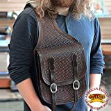 HILASON WESTERN DARK BROWN BASKET WEAVE HAND TOOL LEATHER SADDLE SHOULDER BAG