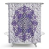 Mandala Shower Curtain, Indian Ethnic Flower Paisley Print Holy Animal Head Hippie, Fabric Bathroom Decoration With Hook, 72 Inch Long, Purple