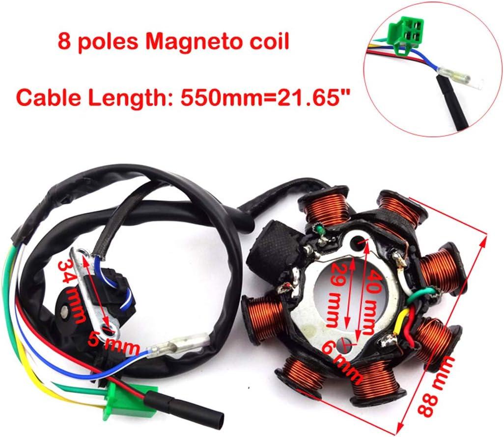 XLYZE 8 Polos Bobinas Estator Encendido Magneto para GY6 125cc 150cc Scooter de ciclomotor chino Go Kart ATV
