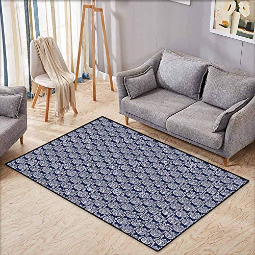 Living Room Area Rug,Navy Blue Abstract Floral Damask with Antique Victorian Design Renaissance Flourish,Super Absorbs Mud,4'11