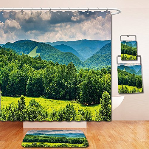 Cotton Shower Highland Curtain (Nalahome Bath Suit: Showercurtain Bathrug Bathtowel Handtowel Landscape View of Mountains in Potomac Highlands of West Virginia Rural Scenery Picture Forest Green)