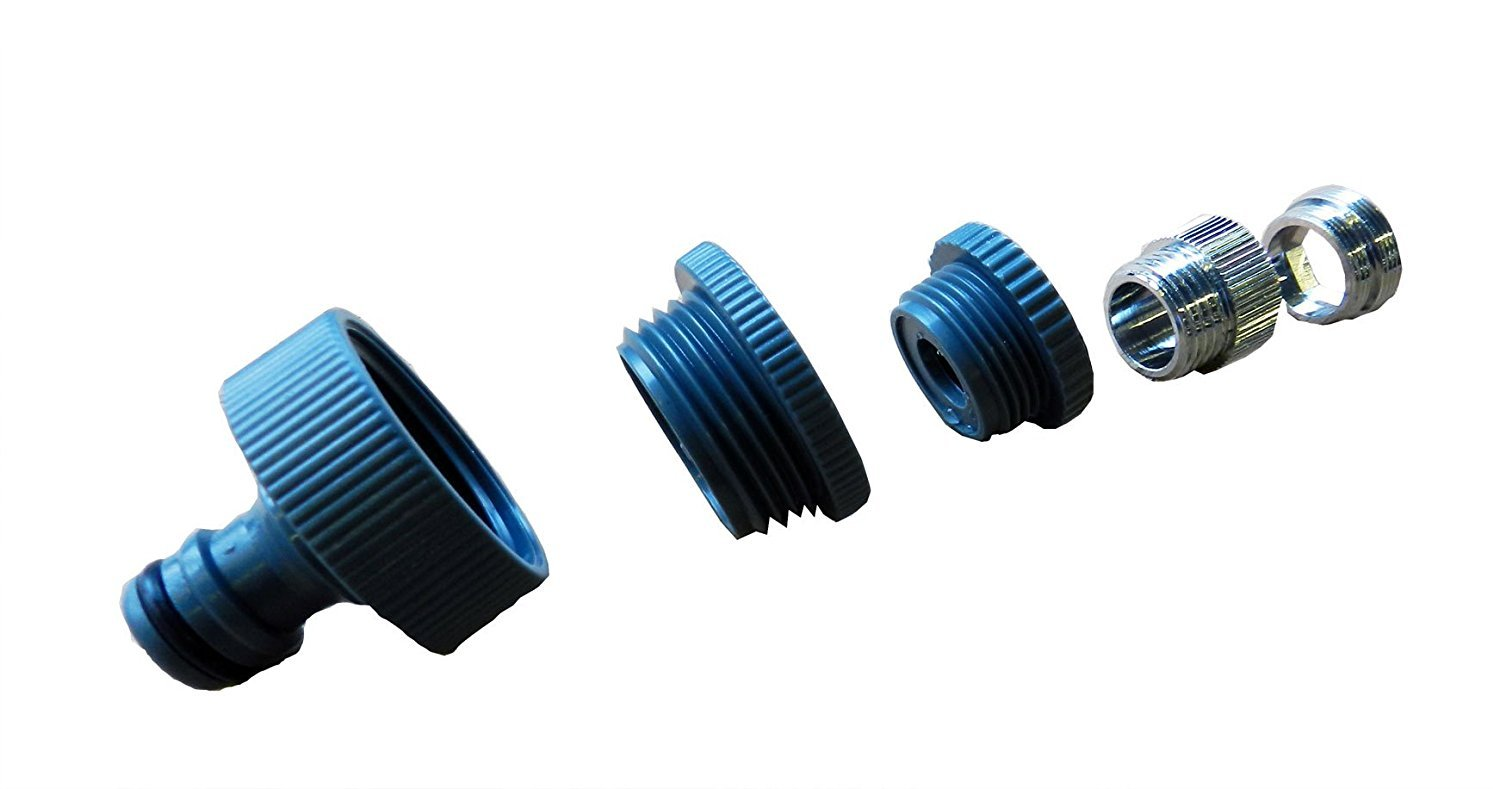 /Gardena Compatible M 24/x 1/Male Thread 1/Inch / for Household Water Connections on Shower IG Garage, Kitchen Tap 3//4-Inch and 1//2/Inch Internal Thread Bathroom Sinks Tap Adaptor 5-Way/M 22/ x 1 Indoor