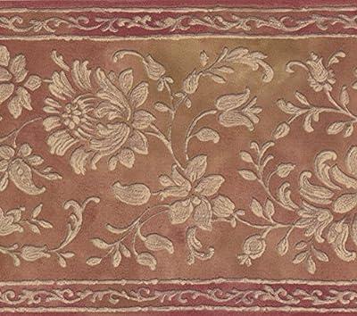 White Floral Pattern Tawny Brown Damask Wallpaper Border Retro Design, Roll 15' x 7''