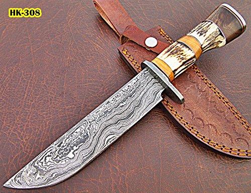 REG-HK-308, Custom Handmade 11.3 Inches Damascus Steel Bowie Knife – Beautiful Combination of Stag Horn, Olive Wood Wallnut Wood Handle