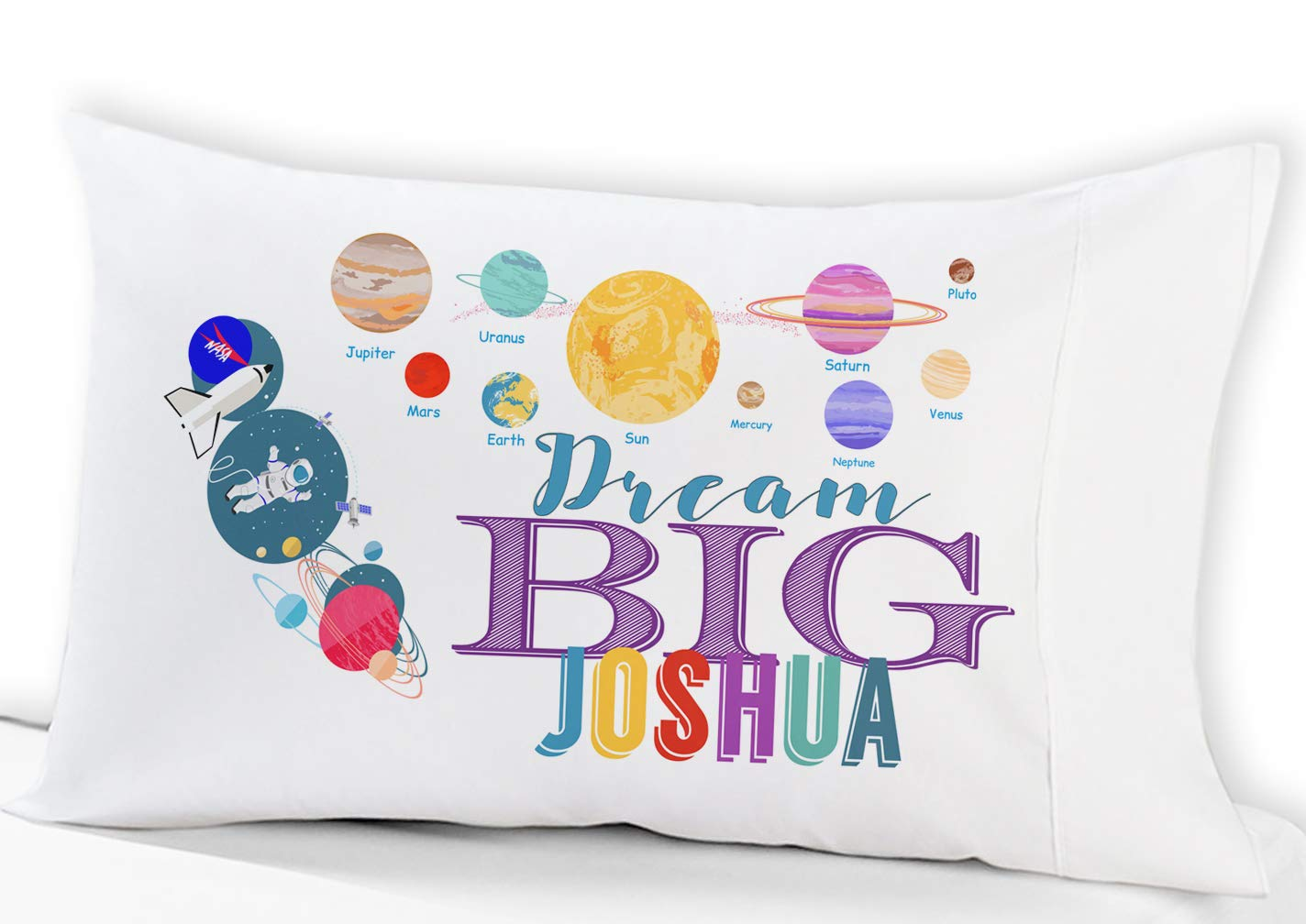 Personalized Space Solar System Dream Big Kids Pillow Case (Standard - Personalized) Christmas Birthday Gift idea for Boys Kids Astronaut Room Decor Stocking Factory PCASE-KIDS-SPACE-STD-PERS