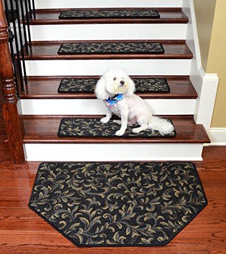(Dean Tape Free Pet Friendly Non-skid Stair Gripper Premium Carpet Stair Treads - Acanthus Blue 30