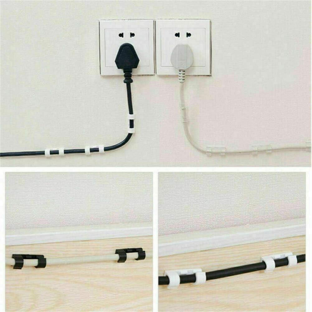 negro abrazaderas de pl/ástico para cables 20 unidades Leikance sujetador de alambre autoadhesivo organizador de cables