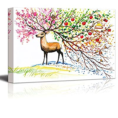Elegant Visual, Brown Deer with Big Beautiful TreeLike Horn with Branches of Fours Seasons in Watercolor Style Wall Decor, Made With Love