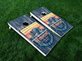 DISTRESSED Wyoming 01 Wyoming State FLAG CORNHOLE WRAP SET Vinyl Board DECAL Baggo Bag Toss Boards MADE IN the USA