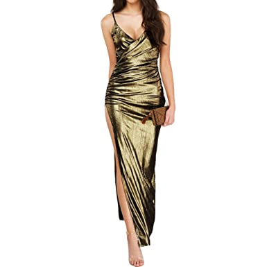 0c2f59bb948b Romacci Sexy Women Bandage Maxi Dress V Neck Adjustable Strap Thigh High  Split Clubwear Party Dress Silver Gold  Amazon.co.uk  Clothing