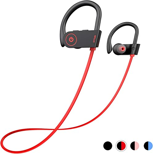 Otium Bluetooth Headphones, Best Wireless Earbuds IPX7 Waterproof Sports Earphones w Mic HD Stereo Sweatproof in-Ear Earbuds Gym Running Workout 8 Hour Battery Noise Cancelling Headsets