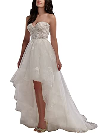 Modeldress Women\'s Sweetheart High Low Wedding Dress For Bride Lace ...