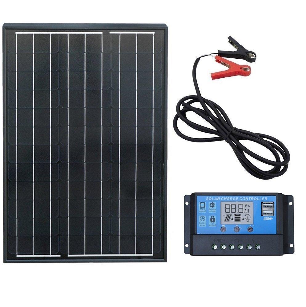 ECO-WORTHY 60 W Kit Pannello Solare Monocristallino: 1PC 60 W Nero Pannello Solare Mono + 20 Amp PWM Regolatore di Carica + Batteria di Clip Con 2 m di Cavo