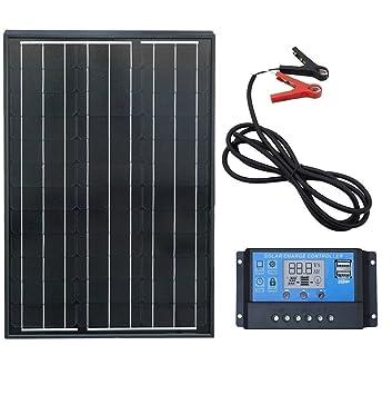 ECO-WORTHY 60W Panneau Solaire Monocristallin Noir +Contrôleur de Charge  LCD 20A +2 2c1121621e6f