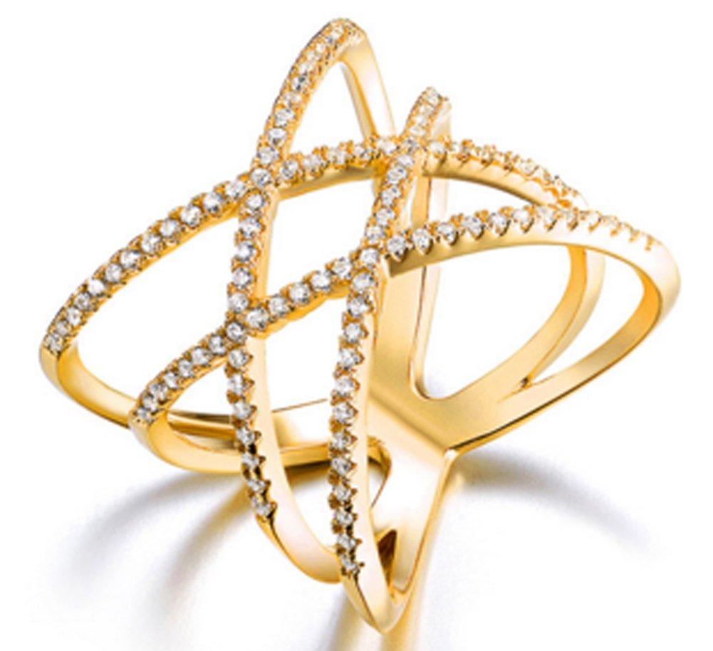 SaySure - Double Cross X Shape Ring Zirconia