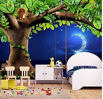 Mkkwp Benutzerdefinierte 3D Fototapete Nachthimmel Mond Baum ...