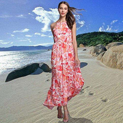Lolittas Femmes Robe Halter sans manches dames Floral imprimé Irregular Beach Long Dress