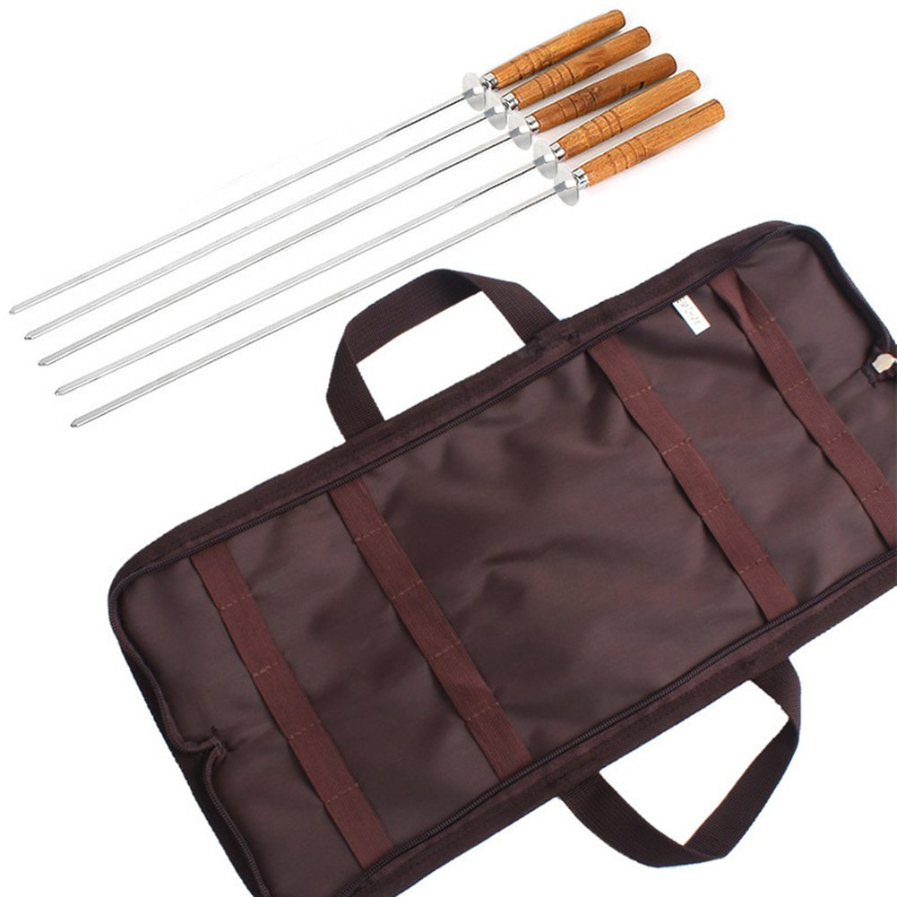 B078X92XKY BBQ Sticks with Wooden Handle | Barbecue Skewers Marshmallow Roasting Sticks Wooden Handle | Hot Dog Fork for Camping Cookware | BBQ Fork For Campfire Cooking Camping Picnic With Grill Sticks (5 Pcs) 61521WvBkhL