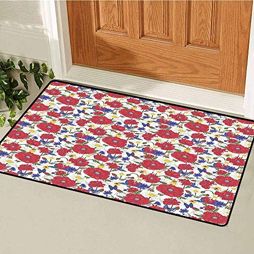 GloriaJohnson Floral Welcome Door mat Blooming Red Poppies Chamomile Ladybird and Daisies Bumblebee Bees and Butterflies Door mat is odorless and Durable W15.7 x L23.6 Inch - Bee Zelda Bumble