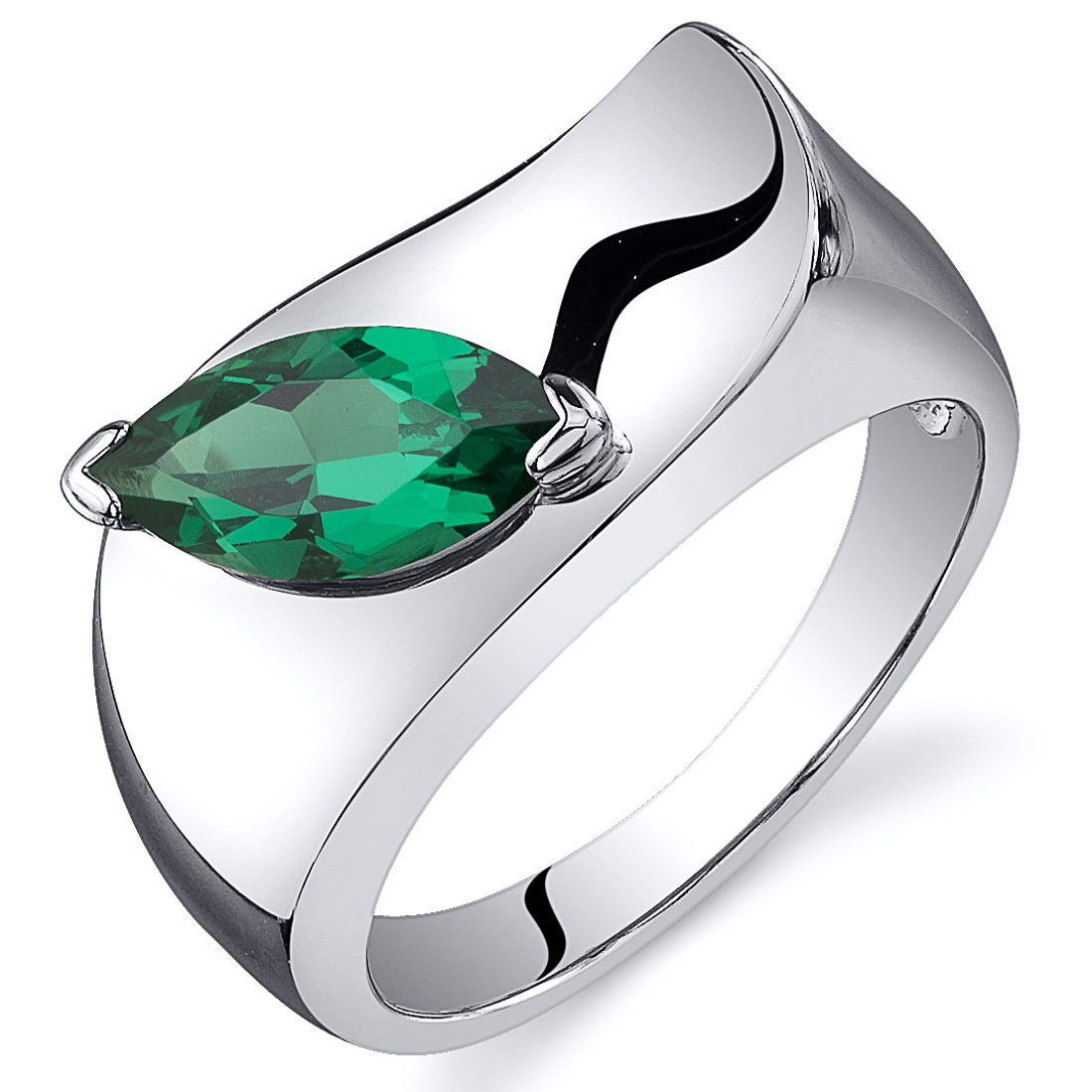 Simulated Emerald Ring Sterling Silver Rhodium Nickel Finish Marquise Shape Museum Style Size 9
