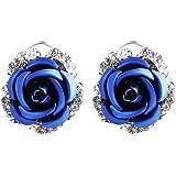 Ownsig Womens Delicate Rose Flower Rhinestone Ear Stud Earrings