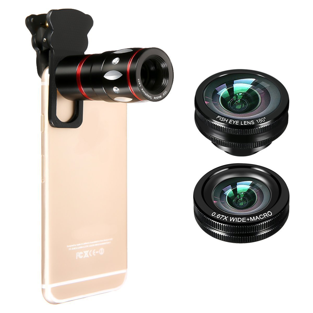 camera lens 4 in 1 10x Zoom Telephoto + Fish Eye + Wide Angle + Macro Clip on Cellphone Lens Kits For iPhone 6S 6, Samsung, HTC, Ipad, Tablet, PC, Laptops