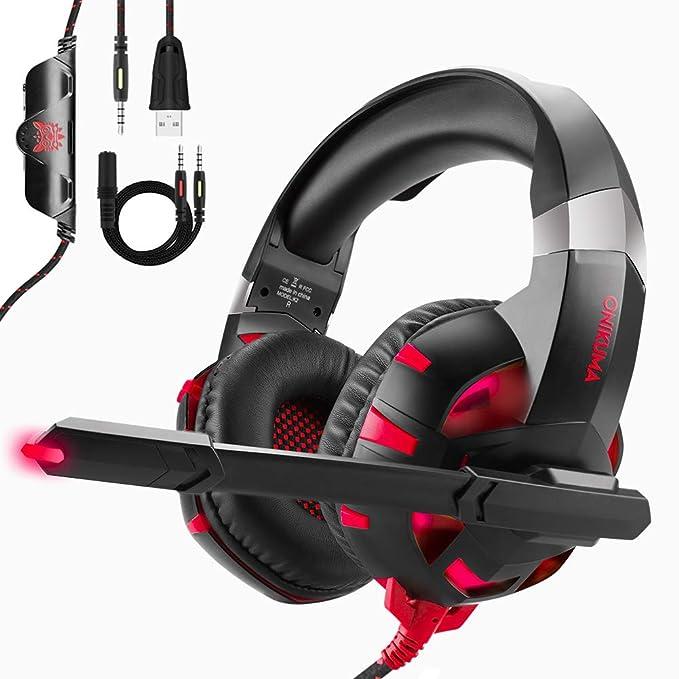 ONIKUMA Cascos Gaming PS4 / PC/Xbox One y Switch, Auriculares Premium Stereo con Microfono - Auriculares de Diadema con Cancelacion de Ruido - Juego Gaming Headset con 3.5mm Jack Rojo Luz LED