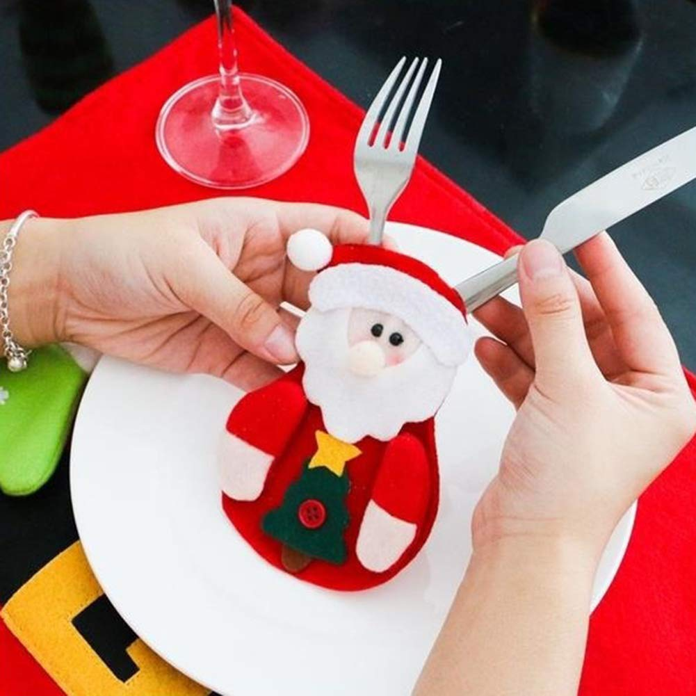CHoppyWAVE Cutlery Pouch, Santa Claus Pattern Cutlery Holder Utensil Bag Fork Knife Pocket Xmas Decoration - A6-2-1 Tree Santa Claus by CHoppyWAVE (Image #9)