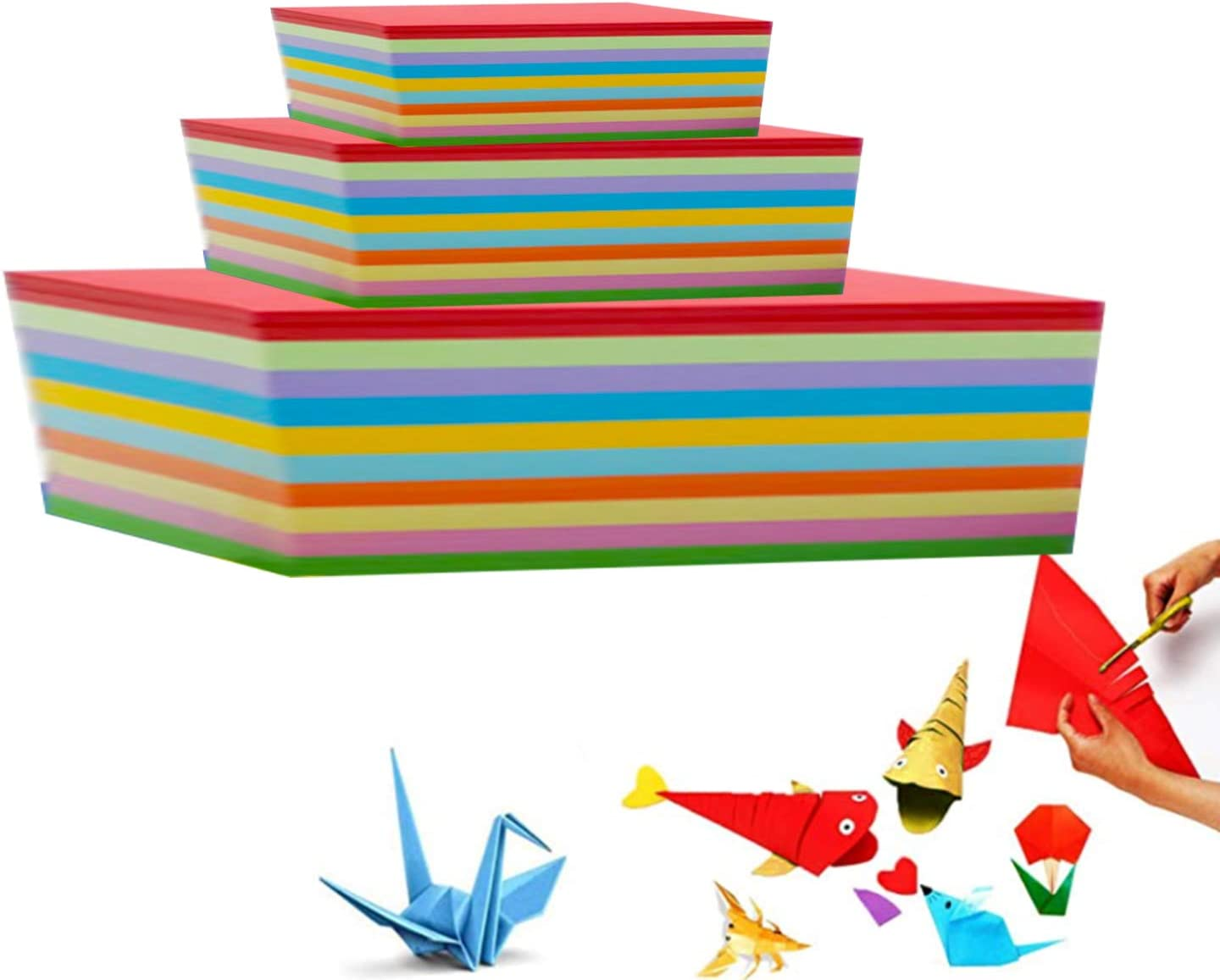 UgyDuky 200 Sheets Origami Paper,25 x 25 cm 10 Vivid Colors Square Fold Craft Paper for Kids DIY Arts and Crafts Projects