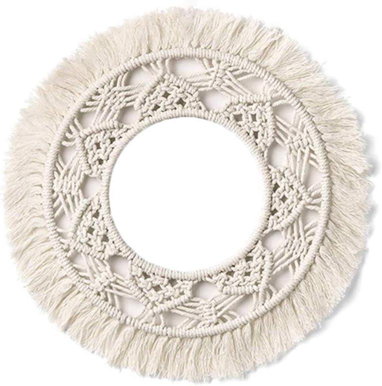 decoraci/ón de macram/é tapiz tejido decorativo hecho a mano de cuerda de algod/ón Tapiz de cuerda de algod/ón tejido adorno redondo estilo n/órdico para colgar en la pared