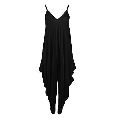 GirlzWalk Women Lagenlook Cami Strappy Baggy Harem Jumpsuit Dress: Clothing