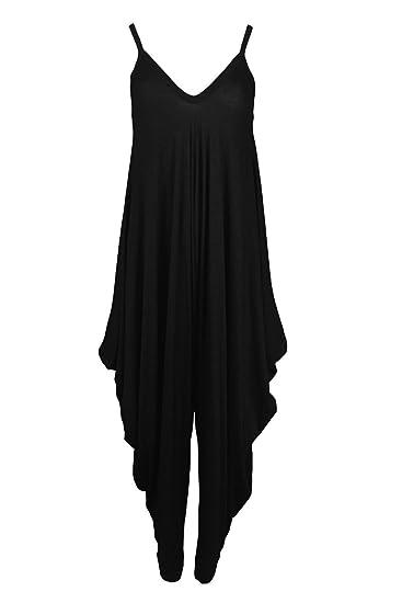 8a9083c734b0 Amazon.com  GirlzWalk ® Women Lagenlook Cami Strappy Baggy Harem Jumpsuit  Dress  Clothing