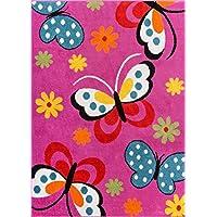 Modern Rug Daisy Butterflies Pink 5' x 7' Accent Area Rug...