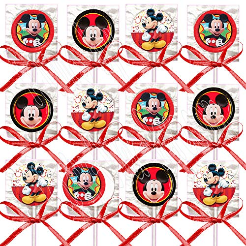 (Mickey Mouse Lollipops, Red Black Yellow Party Favors Supplies Decorations Suckers w/ Red Bows Favors -12)