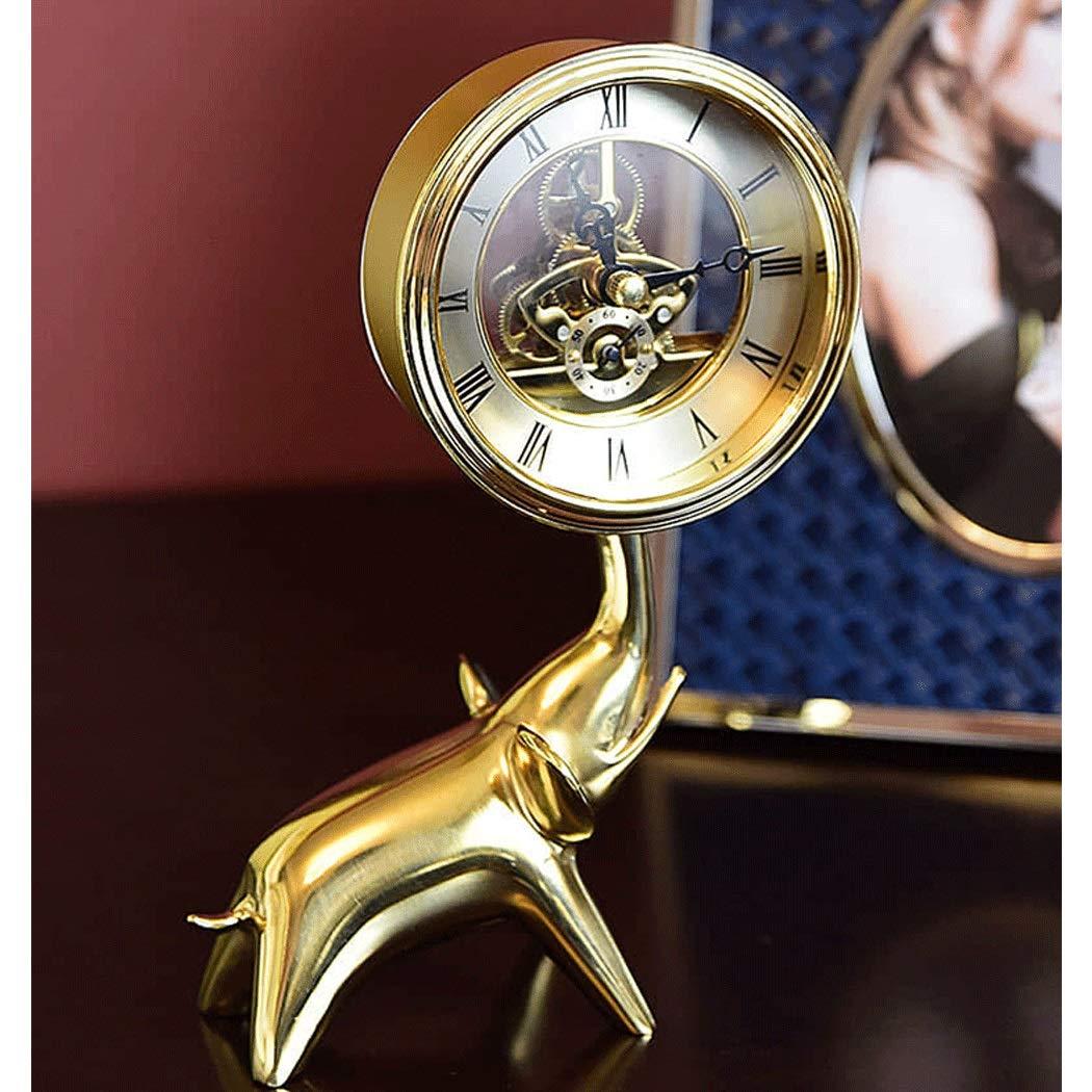 HONGNA Brass Small Elephant Clock European Clock Gear Rotating Table Clock Creative Living Room Study Decoration Crafts Ornaments Hollow Movement (Size : 1420cm) by HONGNA (Image #4)