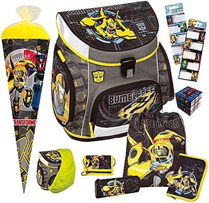 Transformers – scooli Campus Up Set de mochila (9tlg. con escolar Bolsa y seguridad Lluvia Para escolares.