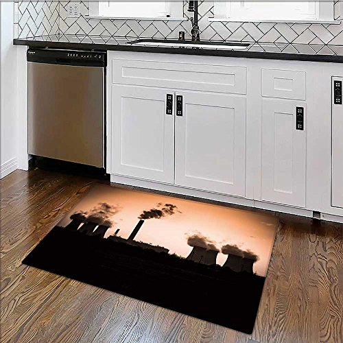 Bathroom Rug Carpet sunset and smoke from a coal burn power station Anti Bacterial,Late x W34