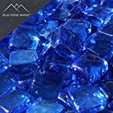Blue Ridge Brand™ Light Blue Reflective Fire Glass Cubes - 50-Pound Professional Grade Fire Pit Glass - 3/4'' Reflective Fire Glass Bulk Pack - Glass Rock Contractor Pack