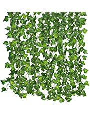 Qiantoucao Artificial Vines, 83Ft(12Pcs) Faux Fake Ivy Leaves Hanging Greenery Garland Vine Plant for Garden Wedding Party Home Wall Decoration Green