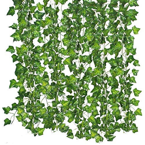 Qiantoucao Artificial Vines, 83Ft(12Pcs) Faux Fake Ivy Leaves Hanging Greenery Garland Vine Plant for Garden Wedding…