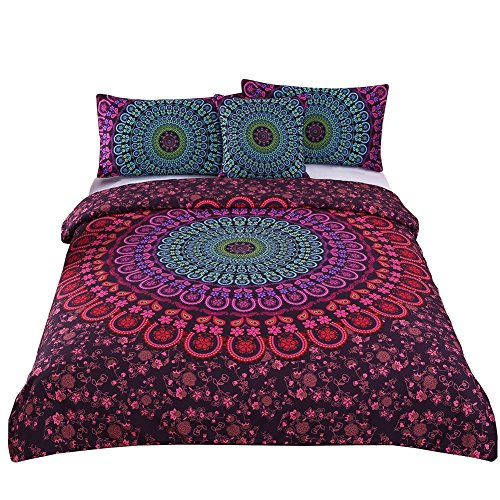 Sleepwish 4 Pcs Mandala Bedding Posture Million Romantic Soft Bedclothes Plain Twill Boho Bohemian Duvet Cover Set Cal-King Size ()