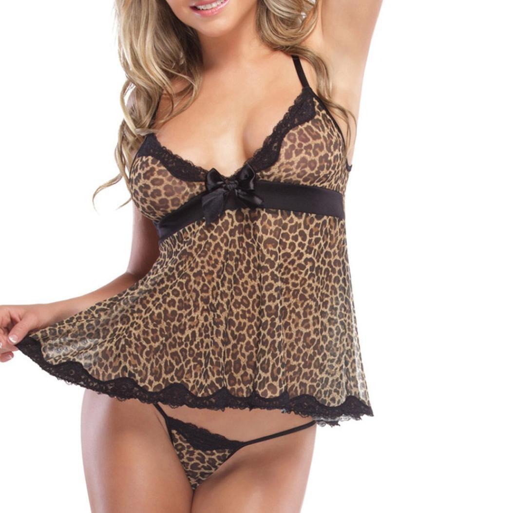 TAOtTAO - moda donna aggressiva, lingerie sexy, stampato leopardato. Camicia da notte tentazione, gonna prospettiva, top underware + perizoma.