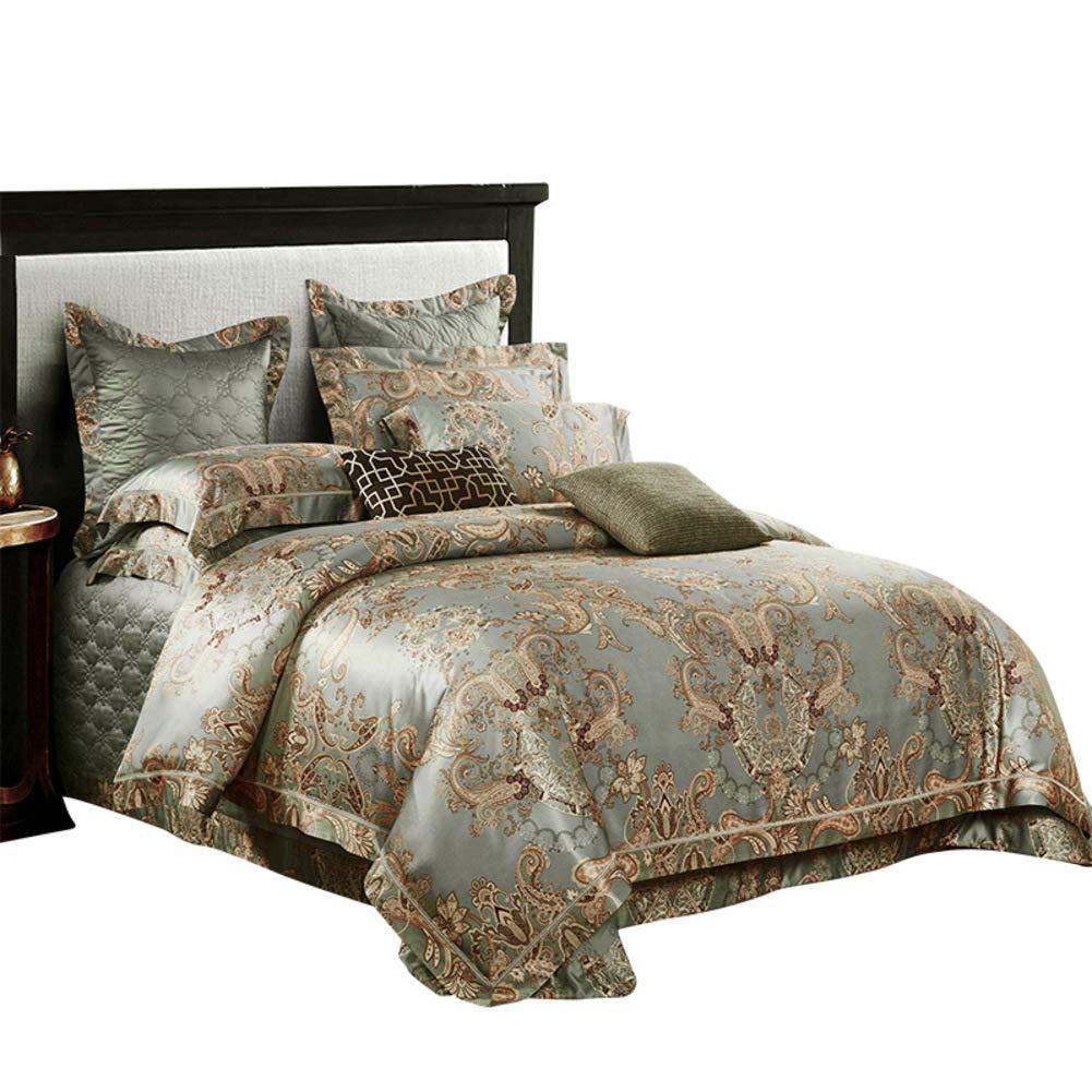 ペイズリー 寝具カバーセット, 羽毛布団カバーセット ジャカード クイーン  キングサイズ 4 作品 ベッド 裁判所のスタイル 高級 簡単フィットしわ 耐フェード-a B07T3BYRVY