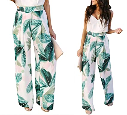 7adcdb29848718 Amazon.com: Womens Leaf Print Wide Leg Palazzo Pant High Waist Casual Loose  Flowy Pants Trousers: Clothing