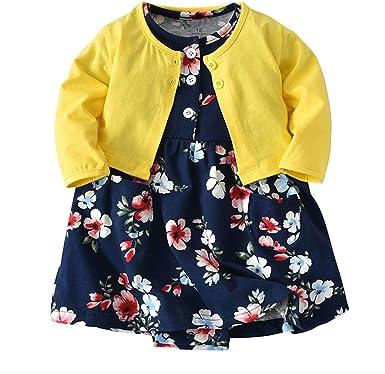 JIANLANPTT Cute 2pcs Baby Girls Dress Set Floral Toddler Romper Dresses Coat