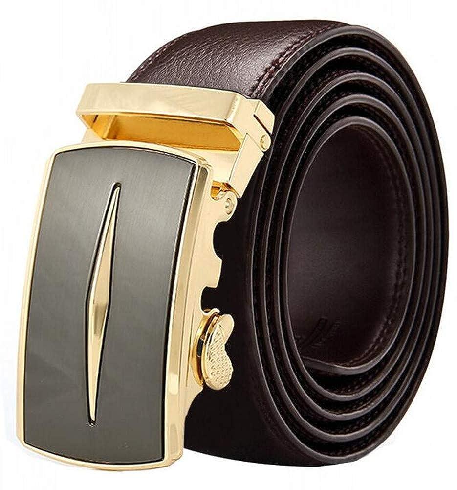 Mens Ratchet Slide Belts Leather Automatic Buckle#012